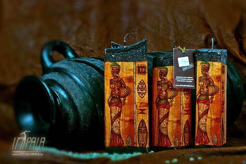 svíčky s motivem africké ženy -Atelier Impala