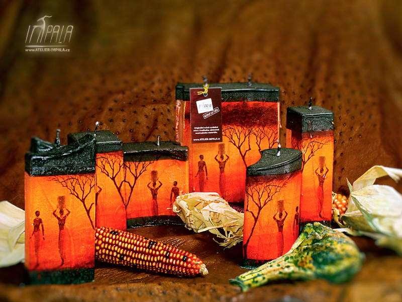 svíčky s africkými motivy - Atelier Impala