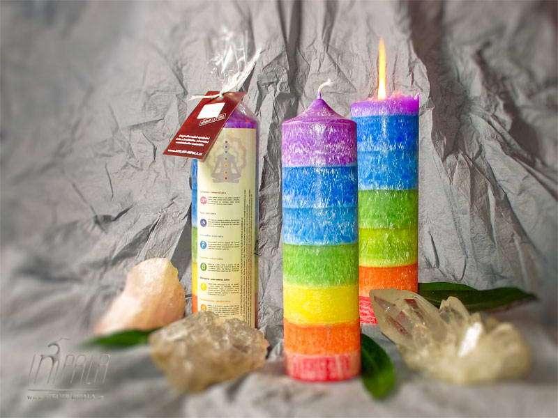 čakrová vícebarevná svíčka - atelier impala
